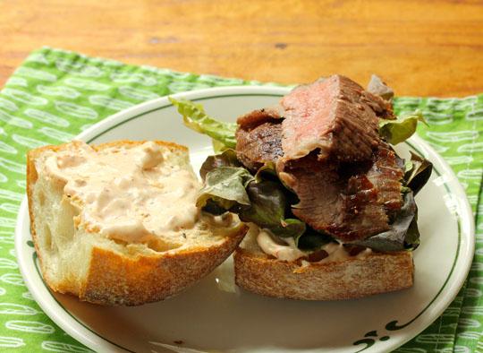 A little bit of spicy harissa sauce perks up any steak sandwich!