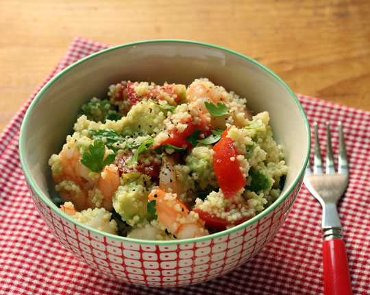 With shrimp, or without for your vegan friends, this couscous can go on a picnic as a main or side.