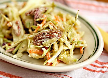 Curried apple and pecan broccoli slaw.