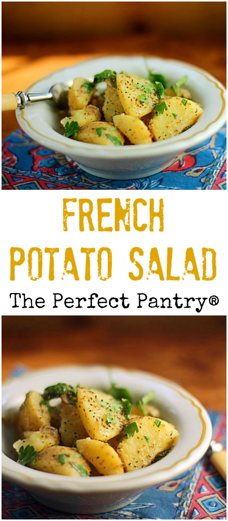 Picnic perfect French potato salad, with no mayo but tons of flavor!