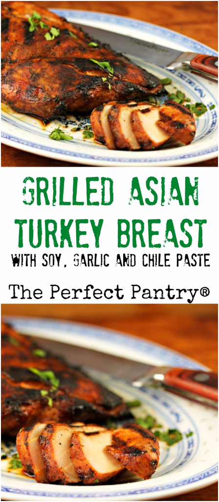 Grilled Asian turkey breast, marinated in a spicy combination of soy, garlic, and chile paste, tastes great in sandwiches or lettuce wraps.