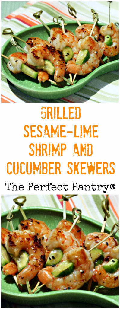 Grilled sesame-lime shrimp and cucumber on skewers makes a perfect barbecue appetizer.