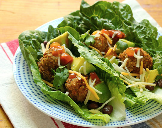 Make these salsa turkey meatballs ahead, and put together a plate of lettuce wraps in no time.