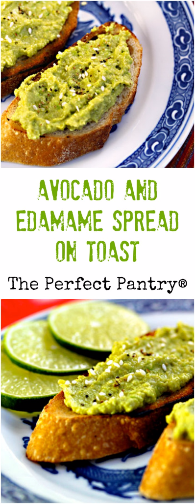 Avocado and edamame (soy beans) makes a fabulous combination, and an irresistible spread on crusty bread.