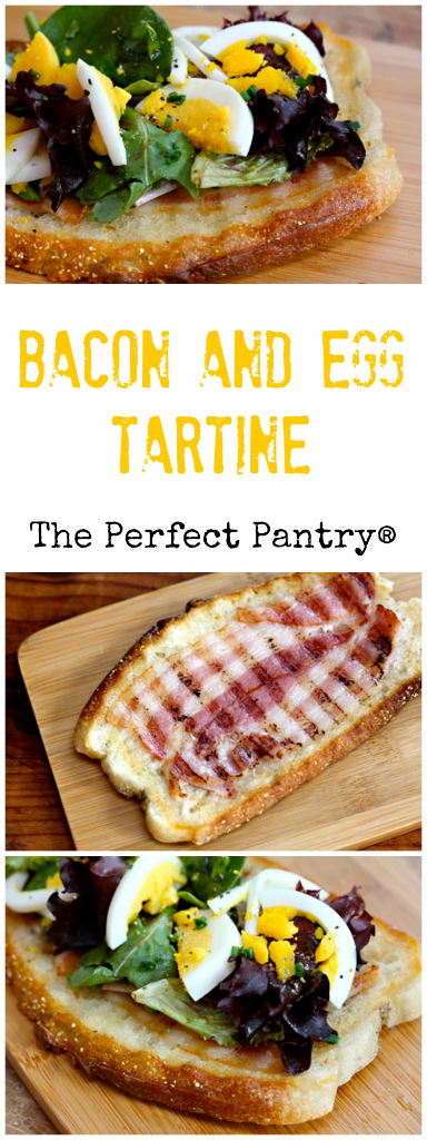Bacon and egg tartines, made on the panini press, are great for breakfast, brunch or a light supper.