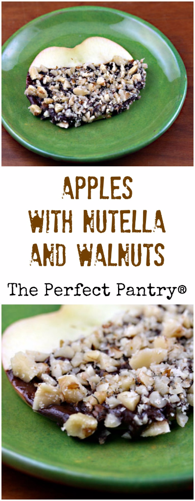 Apples dipped in Nutella and walnuts will please kids of all ages in your family!