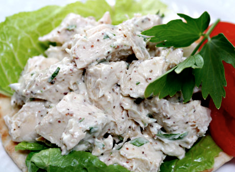 Chicken salad with mustard sauce and lovage. If you don't have lovage in your garden, use celery leaves instead.