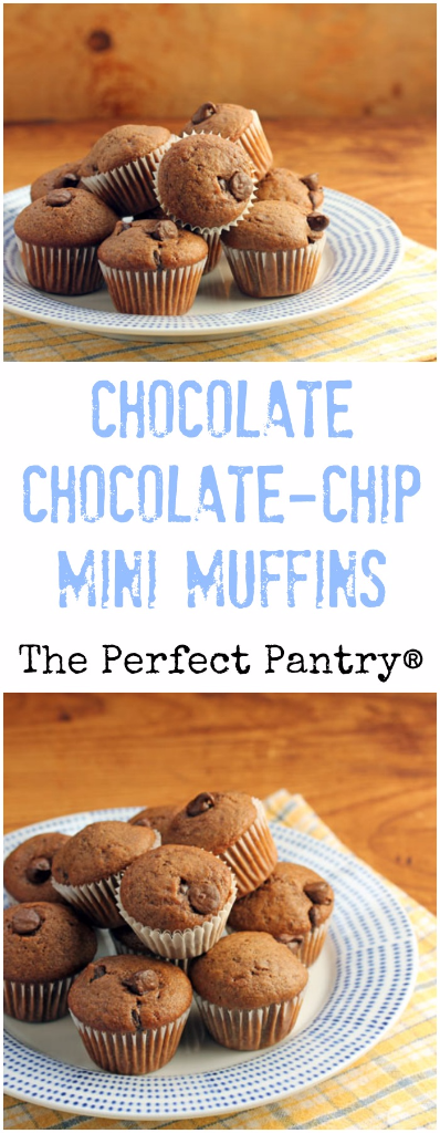Chocolate chocolate-chip mini muffins: a perfect snack, and you can make ahead and freeze.