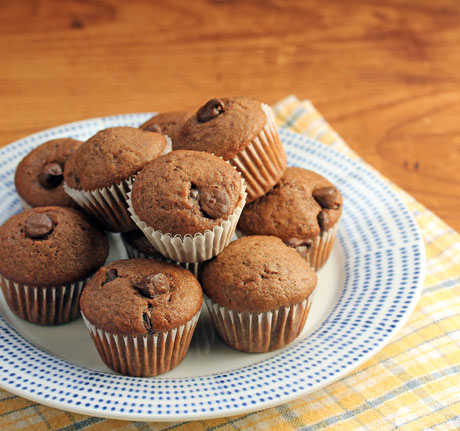 Chocolate chocolate chip muffins: freezeable, with built-in portion control!
