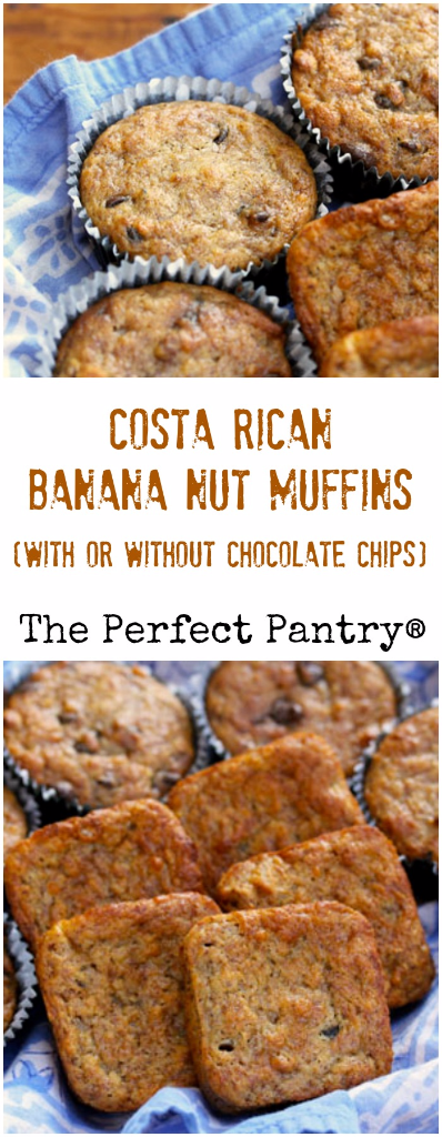 Make these Costa Rican banana muffins with or without nuts, and with or without chocolate chips.