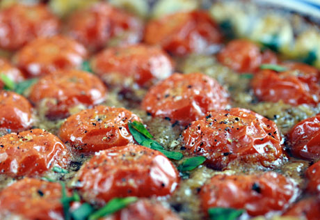 Baked cherry tomatoes, a delicious side dish.