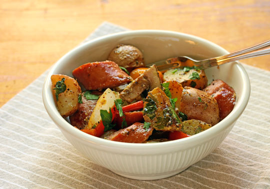Comfort food AND easy school night supper: sausage and potatoes, made in one pan.