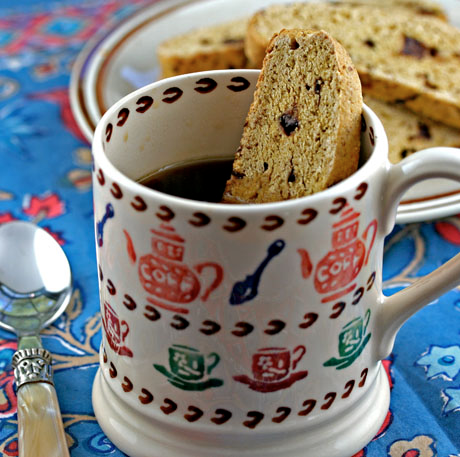 Serve these pumpkin chocolate chip biscotti cookies with afternoon coffee or tea.