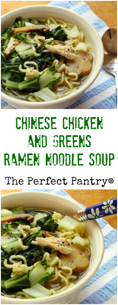 Chinese chicken and dark leafy greens ramen noodle soup will cure whatever ails you!