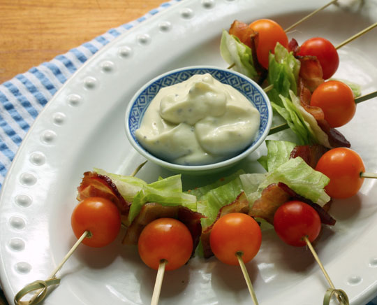 Easy BLT skewers, with wasabi mayo dipping sauce, will be perfect for game day parties!