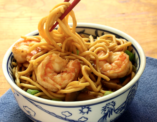 Practice eating with chopsticks when you serve these slippery shrimp lo mein noodles!