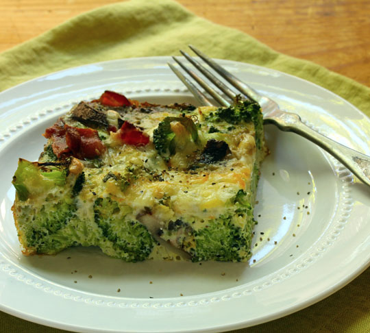 For your gluten-free friends, serve this egg and two-cheese breakfast casserole, packed with broccoli, bacon, mushrooms and fresh herbs.