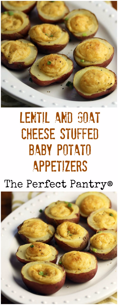 Lentil and goat cheese stuffed baby potato appetizers will wow your holiday guests, and they're easy to make. #vegetarian #glutenfree