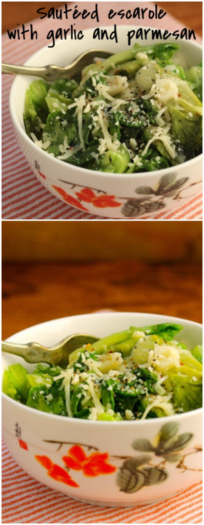 Sautéed escarole with garlic and parmesan: the dark leafy greens mellow when cooked, and make the perfect side dish for a holiday meal. #vegetarian #glutenfree