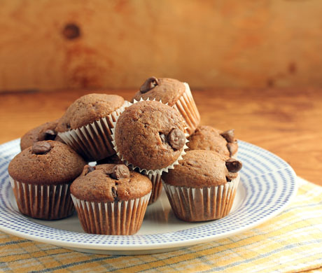 Chocolate-chocolate chip mini muffins, the perfect dessert for your holiday menu.