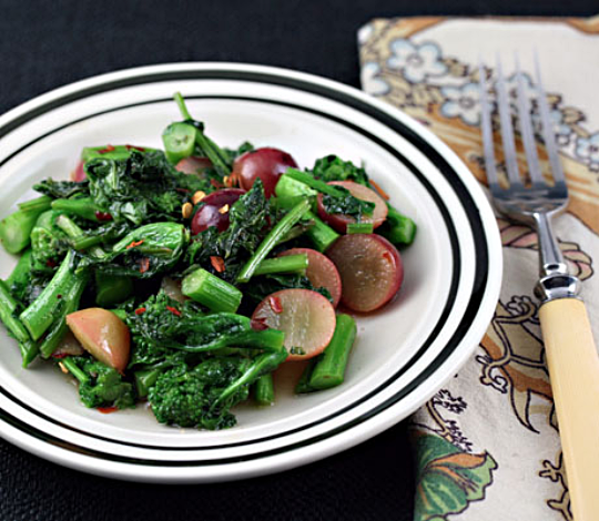 Broccoli raab (sometimes spelled rabe) with grapes and honey.