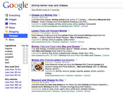 google recipe view screen shot