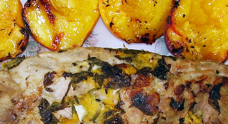 Pork roast with lavender and peaches.